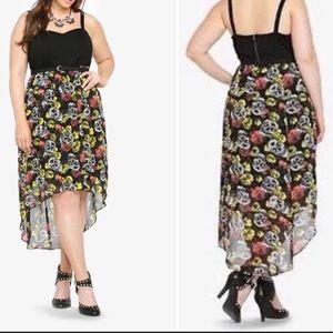 TORRID Size 22 High/Low Skull & Rose Dress. EUC.